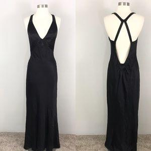Express 8 Silk Dress Gown Black Beaded Open Back